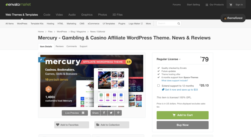 Mercury - Gambling & Casino Affiliate WordPress Theme. Perfect theme for your casino affiliate website.